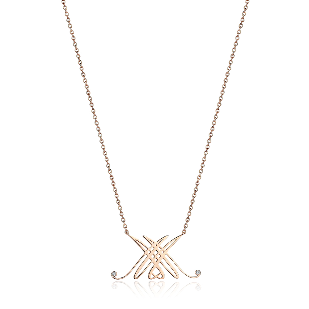 Bespoke Logo Necklace in 14k solid Rose Gold & Diamonds